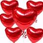 10 Balão Coração Vermelho 45cm Metalizado Bola Hélio Gas Rj