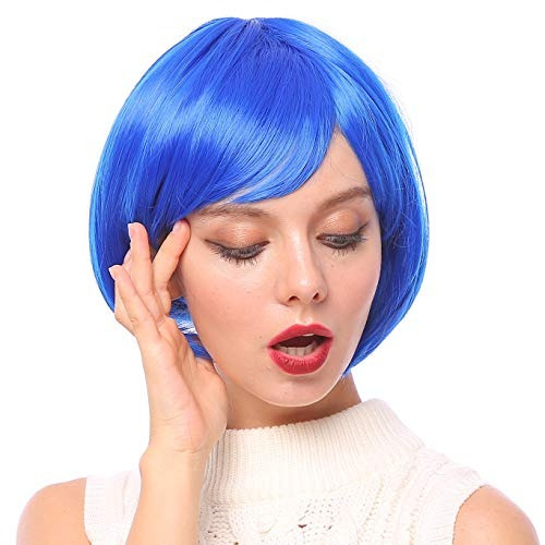 Starcourtyard Womens Blue Short Wigs with Bangs for Women Halloween Party Cosplay  Costume Wig  ( cb8a1b086