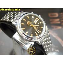 Relógio Orient Automatico Preto Calendario Duplo Aço Mascu