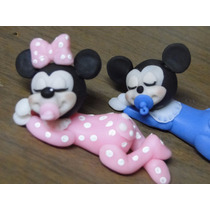 Souvenirs Infantiles Mickey & Minnie Bebes En Porcelana Fría