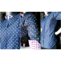 Camisa Dama En Jeans / Denim Lunares Talla S M L Manga 3/4