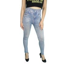 Calça Legging Jeans Cintura Alta Clara Detalhes Em Azul