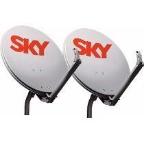 Kit Com 2 Antenas Sky + Cabo + Fixação 60 Cm