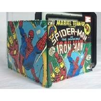 Cartera Slimfold Marvel De Cuero Iron Man Spiderman