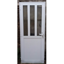 Puerta Aluminio 80x200 Mitad Vidrio Reforzada