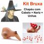 02 Kit Fantasia Bruxa Chapéu Com Cabelo Nariz Unha Halloween