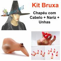 20 Kit Fantasia Bruxa Chapéu Com Cabelo Nariz Unha Halloween