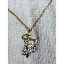 Collar Mujer Bailarina Dorado Diseño Con Cristales Y Cadena