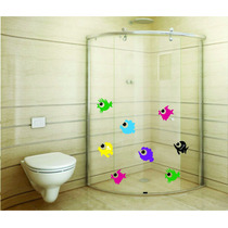 Adesivo Parede Banheiro Porta Box Kit Fundo Mar Peixes
