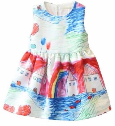 b5861d89ba Vestido De Festa Infantil Aquarela Desenho Frete Gratis - R  88