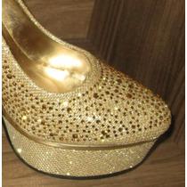 Zapatos Plataforma Brillos Taco De Metal.