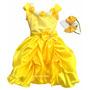 Vestido Festa Princesa Luxo A Bela E A Fera E Tiara E Coroa
