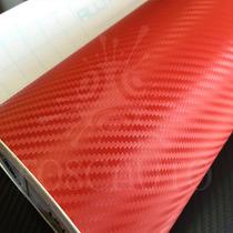 Adesivo Envelopamento Fibra Carbono Vermelha - 3m X 68cm