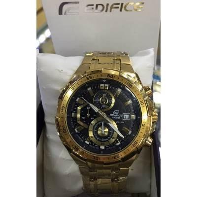 d5cd97e301c Relógio Casio Edifice Ef 539 Dourado Fundo Preto Completo - R  286 ...