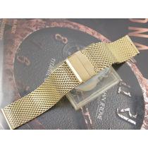 Pulseira Mesh Para Relógio Luxo Omega Breitling Plaque Ouro