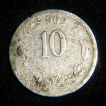 Moneda 10 Centavos 1890 Ga Plata Guadalajara Porfirio Plata