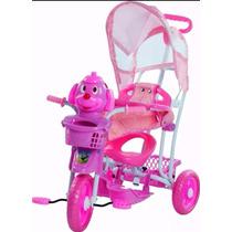 Triciclo Infantil Pedalar Musica Capota Carrinho Bebê Luzes