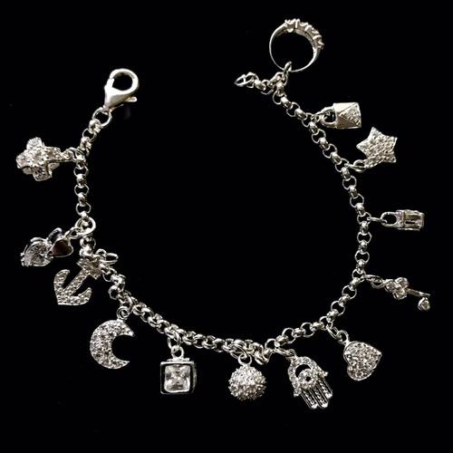 646f2c7b38 pulsera de plata 925 13 dijes varios cruz corazon llave luna ...