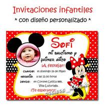 Minnie Mouse 25 Invitaciones Cumpleaños + Cartel Regalo!