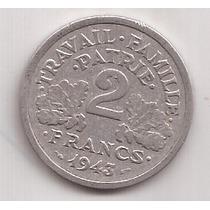 Francia Antigua Moneda De Aluminio 2 Francos Año 1943