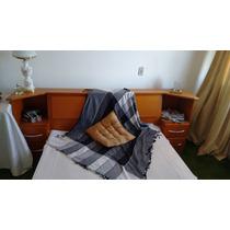 Cama Casal Madeira Maciça Cor Mogno Baú/4 Gavetões/2 C.mudos