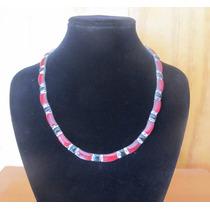 Conjunto, Collar, Pulsera Y Aros Onix Rojo Y Negro