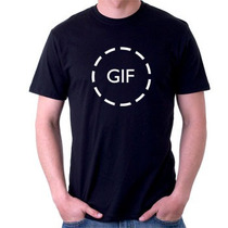 Camiseta Gif - Facebook - Whatsapp - 100% Algodão Preta
