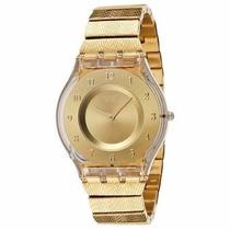 Relogio Feminino Swatch Sfk355g Warm Glow Dourado Original