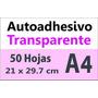 Sticker Autoadhesivo Transparente Impresora Laser A4 X 50