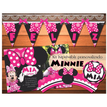 Kit Imprimible Minnie Fucsia Minnie Mousse Candy Bar