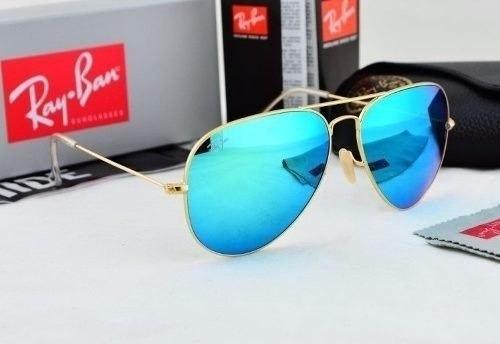 Óculos De Sol Aviador 3025 Azul Espelhado Feminino Masculino - R  129,00 em  Mercado Livre 064e918fc0