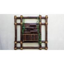 Fonte Água Bambu Parede 3 Quedas Com Painel 84 X 84 Cm