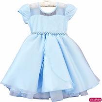 Vestido Frozen Cinderela Princesa Infantil Com Luvas E Tiara