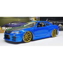 1:24 Nissan Skyline Gt-r34 2002 Azul Jada Display