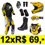 Conjunto Kit Equipamento Roupas Motocross Trilha 9 Peças