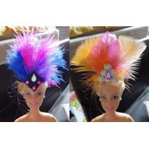 Adorno De Cabeça Em Pena Carnaval P/ Boneca Barbie E Outras
