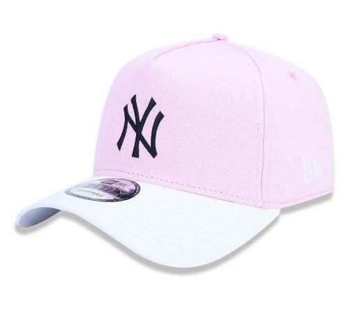 Boné New Era Aba Curva Blocked Ny Yankees Rosa Original - R  159 7b7778a4b9b