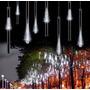 Luces Lluvia De Meteoritos Blanca 8 Tubos Led Navidad Evento