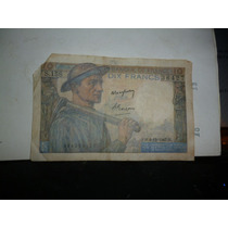 Billete Frances Antiguo Dix Francs