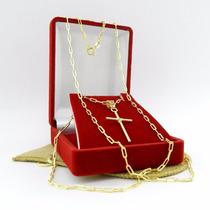Corrente Masculina 70cm 2mm Largura Folheado Ouro Cr543