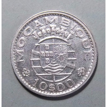 Mozambique 10 Escudos 1960 Plata Exc Km 79 Colonia Portugesa