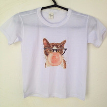 Camiseta Estampada Blusa Infantil 2 Anos Gatinho Chicletes