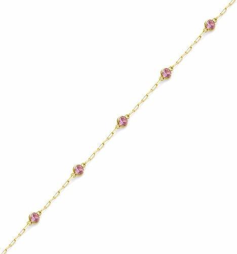 94c2b751502 Pulseira De Ouro 18k Infantil Zircônia Rosa - Volvino P37 - R  359 ...