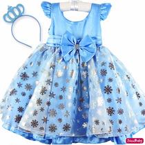 Vestido Elsa Frozen Luxo Festa Infantil Com Coroa