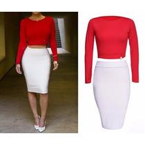 Vestido Conjunto Blusa Manga Larga Roja Y Falda