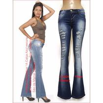 Calça Jeans Azul Flare Skinny Rasgada Boca Sino Delave Ca698