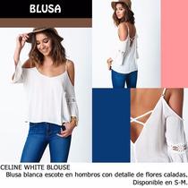 *fashionstore* Celine White Blouse. Blusa Blanca Calada.
