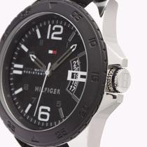 Reloj Tommy Hilfiger, Caja Acero, Correa Silicona, Negro