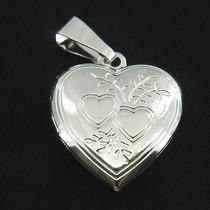 Pingente Coração Relicario 2cm 2 Fotos Folheada Prata Pi168