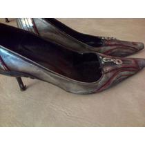 Zapatos Paruolo Stilettos De Fiesta Plateados Nº 38